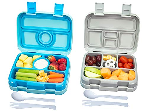 Bizz Travel Bento Box Set Lunch Boxes with Utensils, Removable Microwaveable, Dishwasher Safe Tray (2-Pack) Lunchbox Portable Portion Control Meal Prep Containers, Reusable, BPA Free for Kids Adults