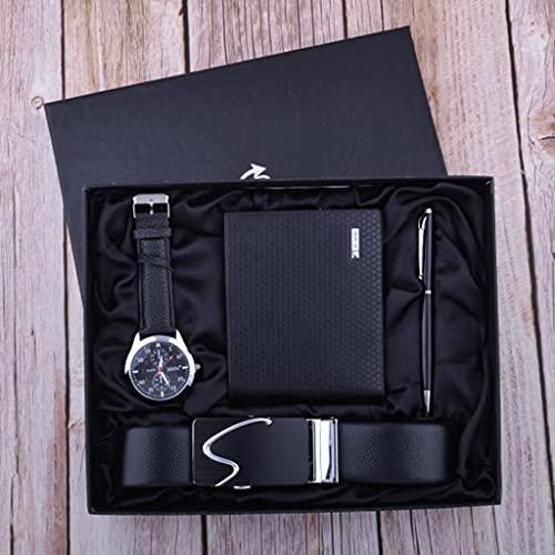 ZZABC Reloj de Negocios Set de Regalo Regalo para Hombre Padre Parcela Cinturón Cartera Firma Pluma (Color : Black)
