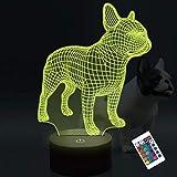 Luz de noche LED 3D Bulldog francés, lámpara de decoración que cambia de color CooPark 16 con control remoto y conexión USB para...