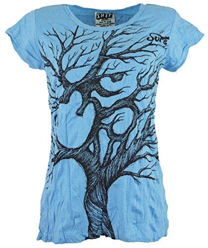 Guru-Shop Sure T-Shirt Om Tree, Damen, Hellblau, Baumwolle, Size:M (38), Bedrucktes Shirt Alternative Bekleidung