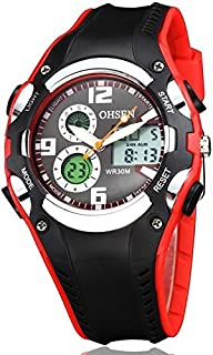 Songlin@yuan  Fashion Men's Quartz Strap Silicone Strap, Round Dial Calendar LED Display Pointer Small Dial Design Watch Fashion (Color : Red)