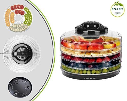 Leogreen - Prodotti alimentari Dehydrator - Colore Nero e trasparente - Controllo temperatura 40-70 ° C - design per le verdure e la frutta di essiccazione