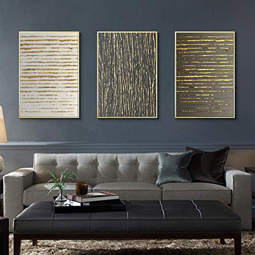 Póster e impresiones en lienzo abstracto, vertical, línea dorada, 3 unidades, 60 x 80 cm, sin marco