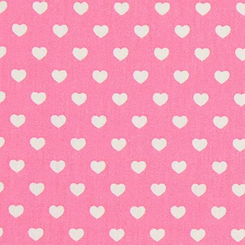 Popeline Stoff Miniherzen – pink — Meterware ab 0,5m — zum Nähen von Blusen/Hemden, Hosen & Röcke