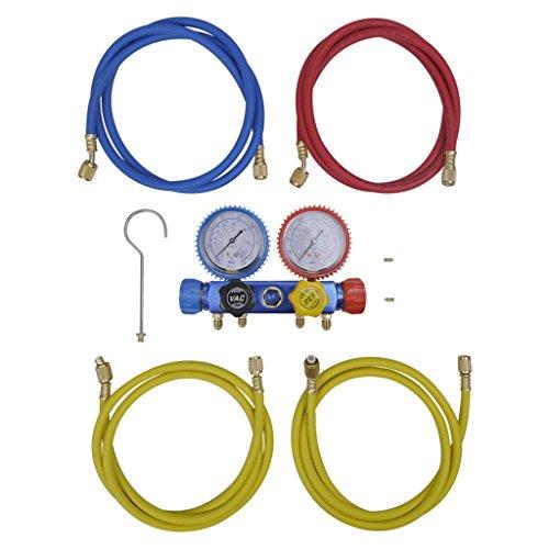 vidaXL Set Manometro Regolatore a 4 Vie Condizionatore d'Aria Tester Pressione