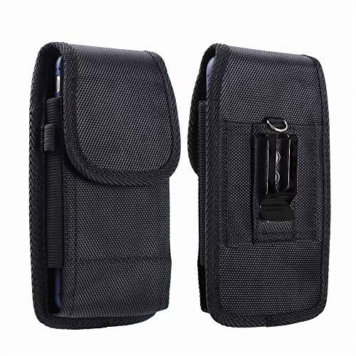 ABCTen Funda Universal con Clip de Cinturón para Xiaomi Redmi Note 8 Pro 8T Teléfono Móvil Vertical/Horizontal Nylon Bolsa de la Cintura Cover para Redmi Note 9 9S, Negro