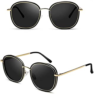 نظارة شمسية للنساء - نظارة شمسية عصرية عاكسة - بإطار معدني - عدسات عاكسة دائرية - لون أسود