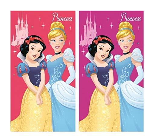 Set di 2 asciugamani per bambini, per viso e mani, con motivo Principesse Disney, 35 x 65 cm, idea regalo
