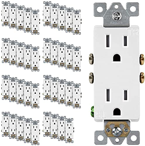 ENERLITES Decorator Receptacle Outlet, Tamper-Resistant, Residential Grade, 3-Wire, Self-Grounding, 2-Pole, 15A 125V, UL Listed, 61501-TR-W-40PCS, White (40 Pack)