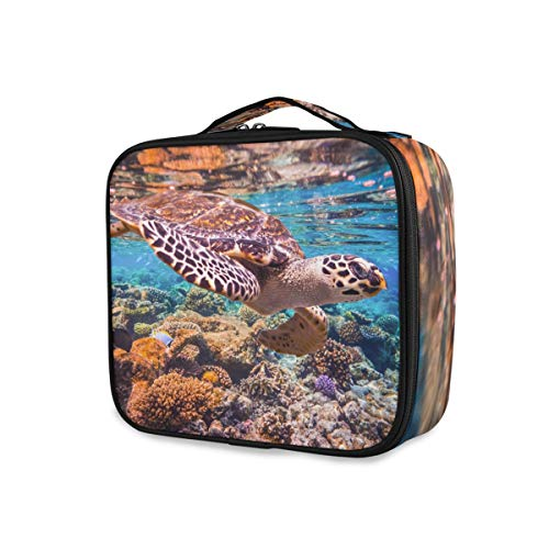 Ocean Animal Sea Turtle Purse Tools Cosmetic Train Case Makeup Bag Travel Toiletry Pouch Storage Portable