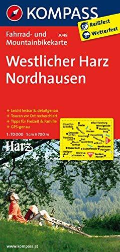 KOMPASS Fahrradkarte Westlicher Harz - Nordhausen: Fahrrad- und Mountainbikekarte. GPS-genau. 1:70000 (KOMPASS-Fahrradkarten Deutschland, Band 3048)