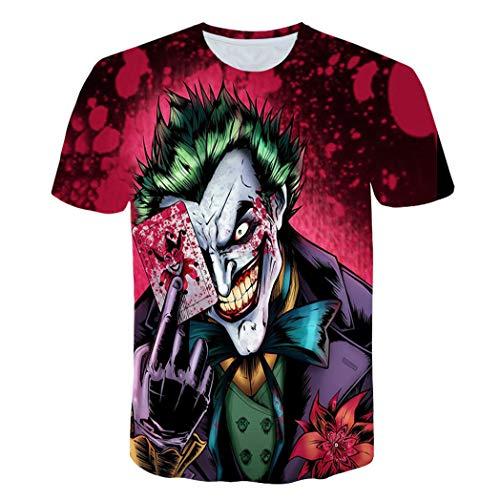 Película Payaso Personaje Unisex 3D Impreso Camiseta Verano Personalizado Casual Camisetas De Manga Corta Tops Casual Camiseta para Hombre(M, A)
