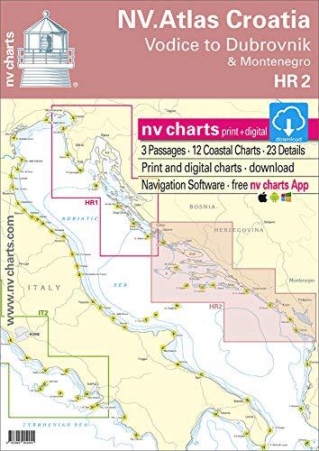 NV-CHARTS Carte NAUTICHE MEDITERRANEO. Kit HR 2. NV Atlas Croatia - Vodice to Dubrovnik & Montenegro