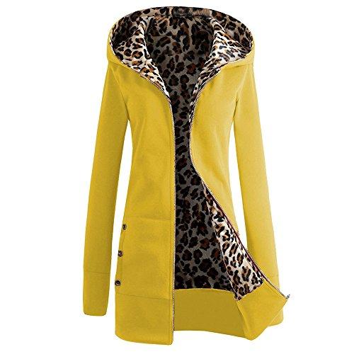 5 ALL Damen Herren Winter Sweatjacke Leopard Drucken Hoodie Langarm Slim Fit Lang Mantel Wintermantel Jacke Outwear Kapuzenjacke Anoraks Yellow L