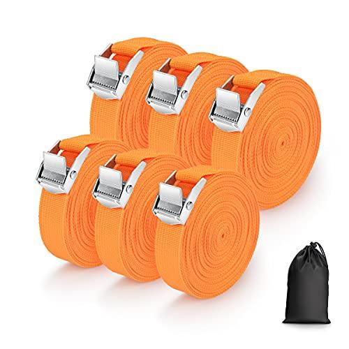Spanngurte mit Klemmschloss, 3 Stück 250kg 4m x 2.5cm und 3 Stück 250kg 6m x 2.5cm, Schnellspannung Spanngurt Befestigungsgurt