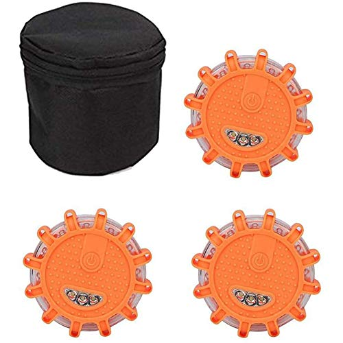 WQJJ Orange LED Warnlicht Warnleuchte Rundum Warnblinkleuchte Blinkend Warnlicht mit Magnet und 9 Leuchtmodi (ohne Akku)