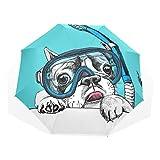 LASINSU Regenschirm,Eine französische Bulldogge in der Tauchmaske mit Gefäß auf blauem...