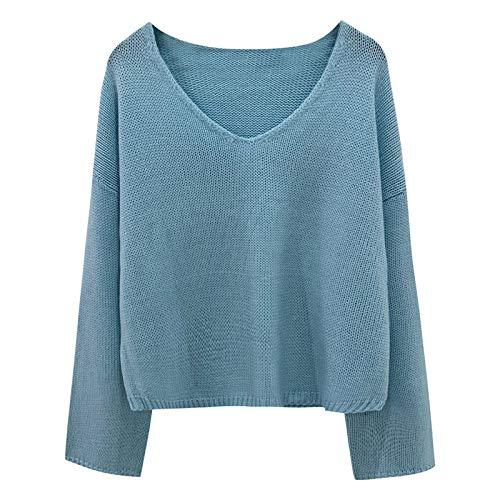 Tops de Primavera y otoño para Mujer, Moda con Cuello en V, Color sólido, Suelto, Informal, Diario, suéter de Talla Grande X-Large
