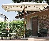 PEGANE Parasol centré rectangulaire 3 x 4 m Coloris Bois Teck Polyester 180 GR