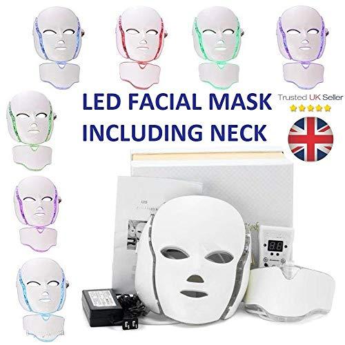 Luce LED fotone viso + collo maschera ringiovanimento pelle terapia viso rughe spina UK