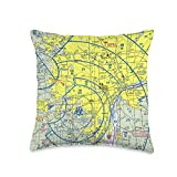 15 Degrees East Aeronautical VFR Sectional Chart - Detroit Throw Pillow, 16x16, Multicolor