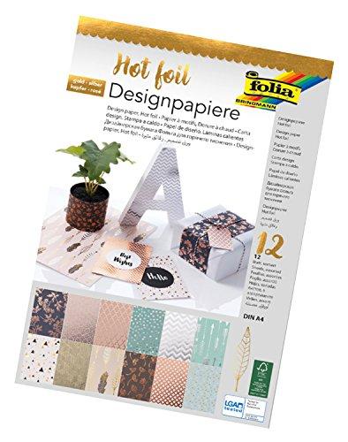 folia 11549 - Designpapier Block Hotfoil, DIN A4, 165 g/qm, 12 Blatt - hochwertig illustriertes Papier mit Heißfolienapplikation