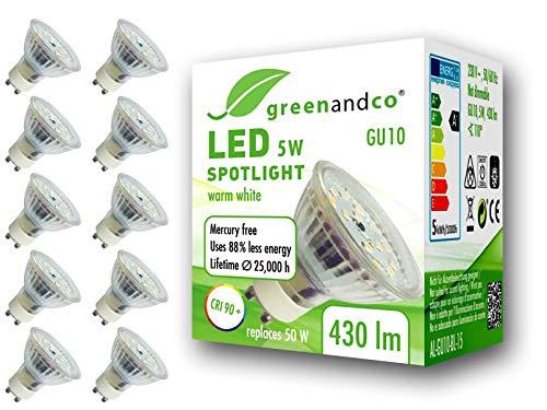 10x greenandco® CRI90+ 3000K 110° LED Spot ersetzt 50 Watt GU10 Halogenstrahler, 5W 430 Lumen warmweiß SMD LED Strahler 230V AC Glas mit Schutzglas, flimmerfrei, nicht dimmbar, 2 Jahre Garantie