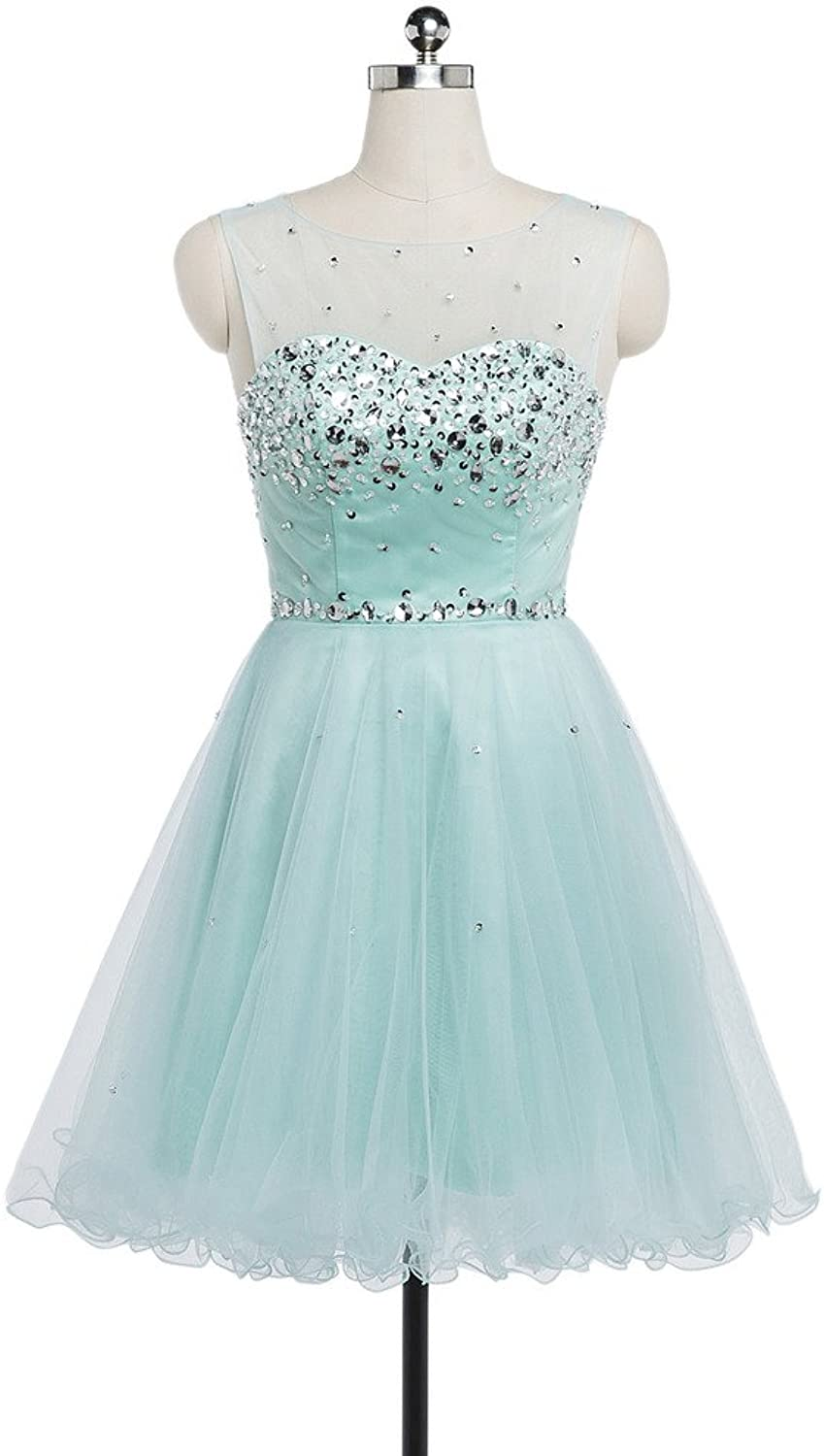 CharmingBridal A Line Scoop Sleeveless Short Prom Party Homecoming Dress