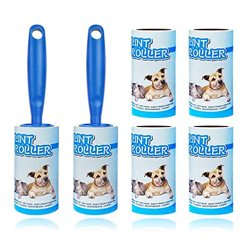 Lint Rollers for Pet Hair Extra Sticky Lint Roller Refill for Clothes Dog Hair Roller Remover Couch Furniture [120 Sheets 6 Refills] Laundry Household Supplies(Blue)