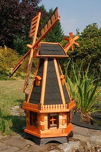 Deko-Shop-Hannusch Große Windmühlen mit Solarbeleuchtung - Höhe 1,30 oder 1,45 Meter, Farbe|Größe:1.28m dunkel