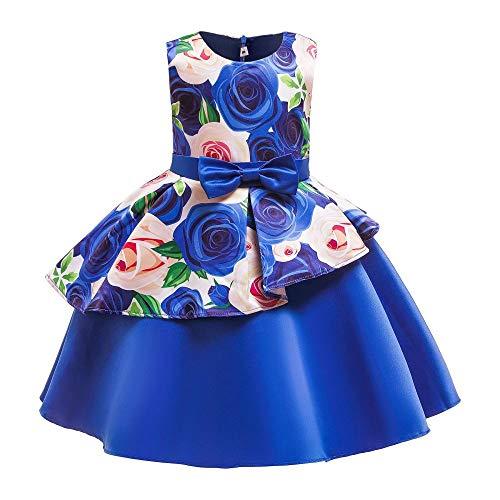 XIEPEI Mädchenkleider Prinzessin Kleider Puffy Kleider Ärmellose Long-Side Kinder Schleifenkleider