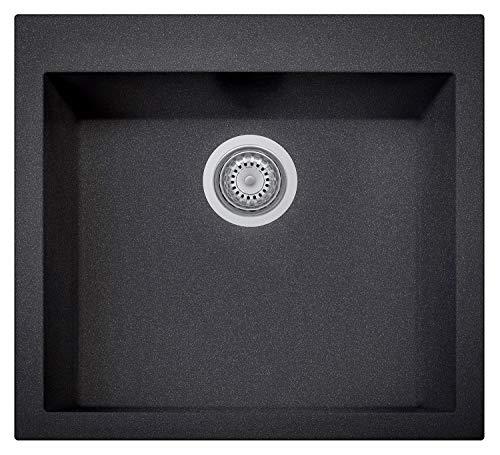 ZUHNE Black Kitchen Prep RV or Wet Bar Sink, Granite Composite (22 x 20 Inch Undermount or Drop-In)