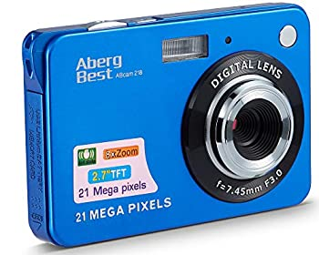 AbergBest 21 Mega Pixels 2.7  LCD Rechargeable HD Digital Camera Video Camera Digital Students Cameras,Indoor Outdoor for Adult/Seniors/Kid  Blue