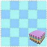 qqpp Alfombra Puzzle para Niños Bebe Infantil - Suelo de Goma EVA Suave. 18 Piezas (30 * 30 * 1cm), Azul & Verde.QQC-GHb18N