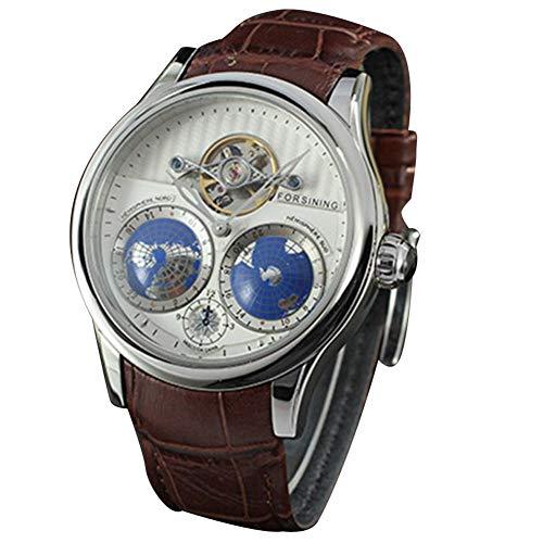 SUYANG Reloj Analógico Reloj Mecánico Hombre Relojes para Hombres Hombres Menores Automáticos Reloj Mecánico Correa De Cuero Dial Redondo Reloj De Pulsera (Blanco + Plata)