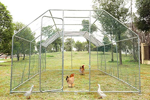 Wonline Large Metal Chicken Coop Walk-in Poultry Cage Hen Rabbit Chicken Cage Pens Crate Enclosure Playpen for Outdoor Backyard Farm