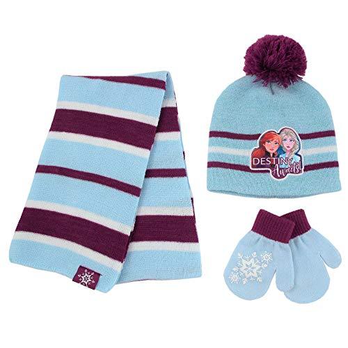Disney Girls' Frozen 2, Elsa and Anna Kids Winter Beanie Hat, Scarf and Gloves Cold Weather, Blue Mitten Set-Age 2-4