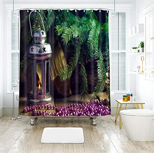 AJ WALLPAPER 3D Navidad aceite lámpara púrpura perlas 987 cortina de ducha impermeable fibra baño ventanas inodoro Reino Unido Zoe (tamaño personalizado (mensaje eBay us))