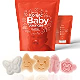 Konjac Baby Sponge for Bathing   Natural Cute Shapes   Kids Bath sponges for Infants   Toddler Bath time   Safe Organic Plant-Based Toys   5pcs Set : Bear, Monkey, Butterfly, Ladybug, Star