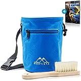Montista Chalkbag mit Boulder-Bürste - 2-in-1 Magnesia-Beutel Set zum Bouldern und Klettern - Mit staubdichtem Verschluss, Hüftgurt und 2 Taschen - inkl. E-Book Chalk & Boulder Guide (Blau)