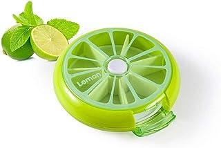 YRLHMYYH Medicine box Seven grid portable portable storage box creative fruit medicines rotating small kit (Color : Green)