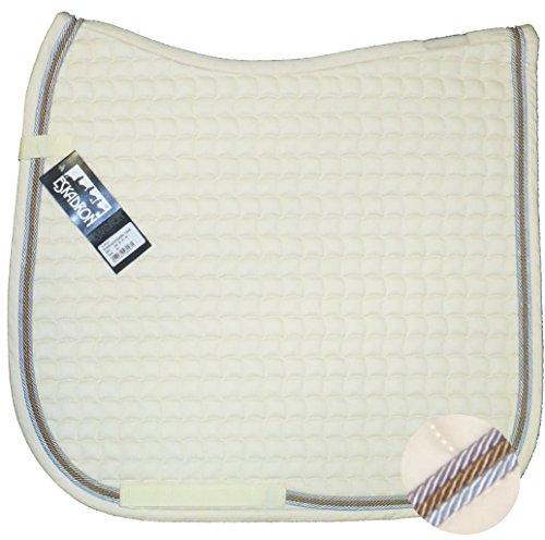 ESKADRON Cotton Schabracke creme, 3fach Kordel ice, mocca, silberfarben, Form:Dressur
