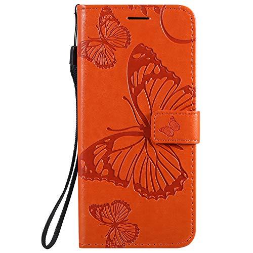 Hülle für Huawei P40 Pro Hülle Leder,[Kartenfach & Standfunktion] Flip Case Lederhülle Schutzhülle für Huawei P40Pro - EYKT041219 Orange