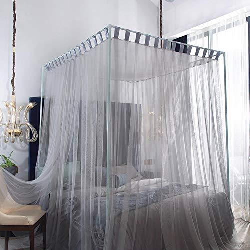 Moskitonetz für Bett-Überdachung 4 Eckpfosten- Gardinen-Bett-Überdachung Elegante Moskitonetz Einfacher Bettrahmen Überdachungen Net Easy Installation Für Large Size-Bett Vorhang gray-1.8x2.0m bed