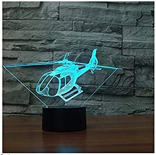 3D Helicopter Plane Night Light Touch Switch 7 Color Change LED Table Desk Lamp Acrylic Flat ABS Base USB Charger Home Decoration Toy Brithday Xmas Kid Children Gift