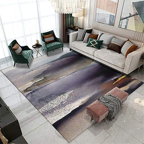 alfombras Infantiles Lavables Alfombra de la Sala de Estar del Estilo de la Pintura al óleo del Arte de la Tinta púrpura Gris Negra Dormitorio Infantil Alfombra 180*280cm