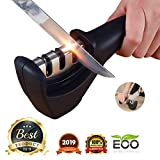 FLYNGO Manual Knife Sharpener 3 Stage Sharpening Tool for Ceramic Knife and Steel