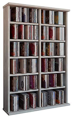 VCM Regal DVD CD Rack Medien Schrank Turm Aufbewahrung Holz Standregal Möbel Bluray Möbel 300 CDs Sonoma-eiche