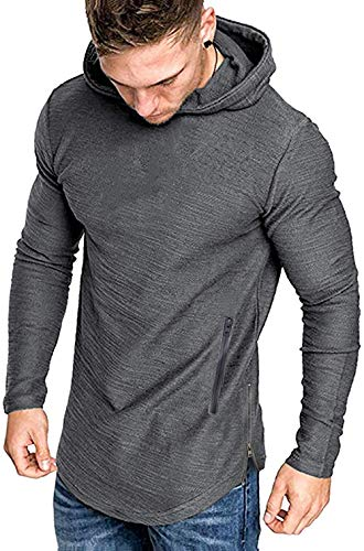 COOFANDY Men's Fashion Workout Hoodie Muscle Fit Cotton Blend Gym Sweatshirts Solid Color Athletic Pullover Grey
