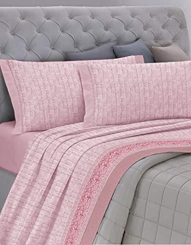 GEMITEX Juego de sábanas Fabricado en Italia de Franela de 100% algodón, para Cama de Matrimonio, línea Enjoy, diseño G17 Variante 03 Rosa, con Tratamiento antipilling